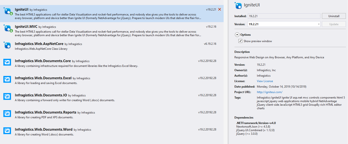 Using Ignite UI NuGet packages - Ignite UI™ Help