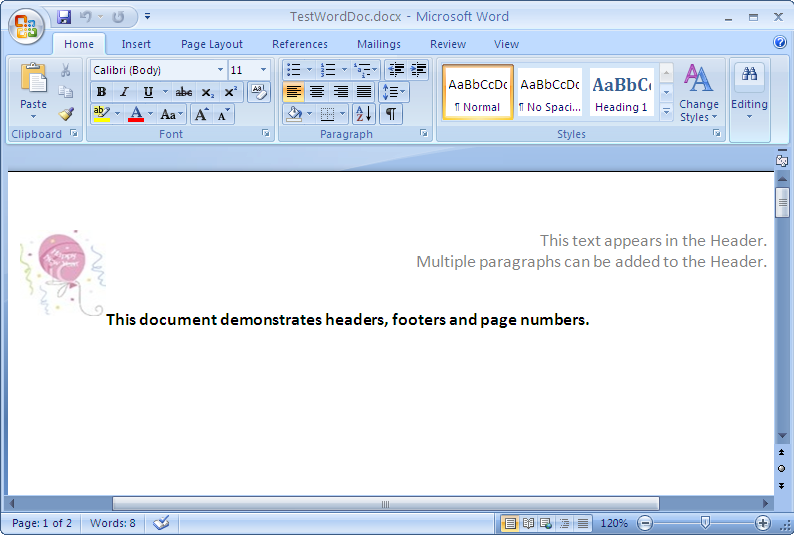 how to create a footer in word