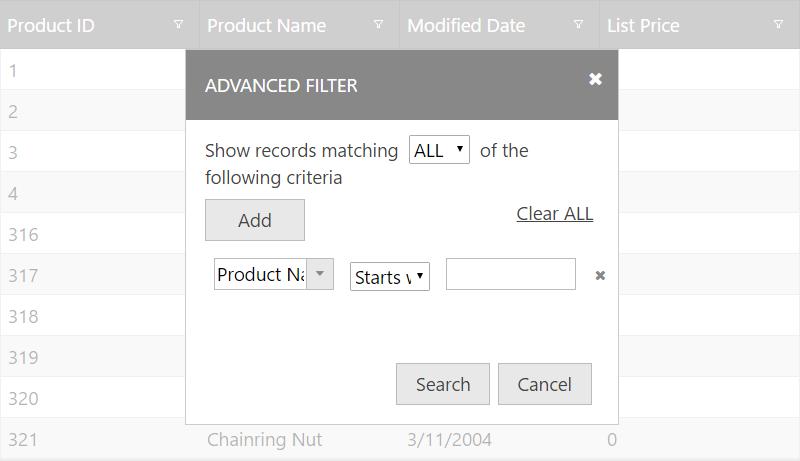 Filtering - Ignite UI™ Help